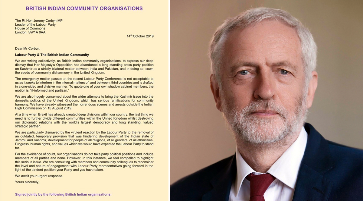 British Indian Organisations in Letter to Jeremy Corbyn Slam 'Ill-Conceived' Labour Party Resolution on Kashmir