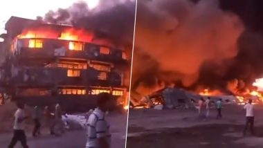 Gujarat Fire: Massive Blaze Engulfs Plastic Factory in Kutch, Goods Worth Crores of Rupees Damaged