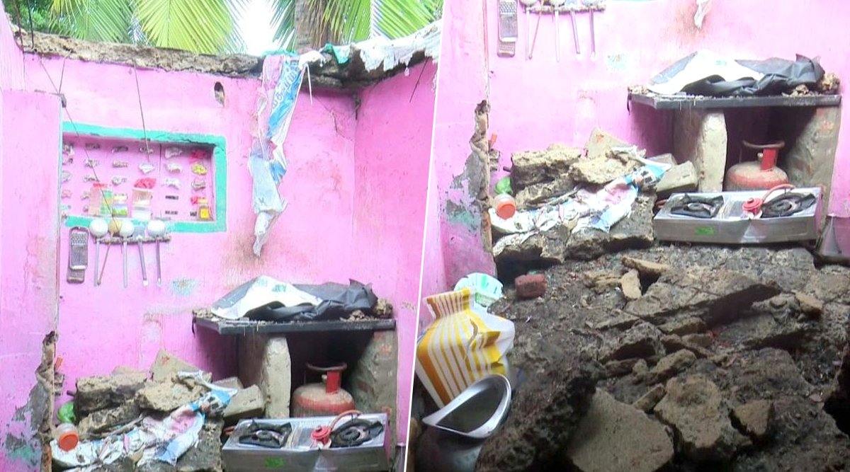 Tamil Nadu Rains: Roof of House in Rameswaram Collapses Due to Heavy Rainfall After Northeast Monsoon Hits State