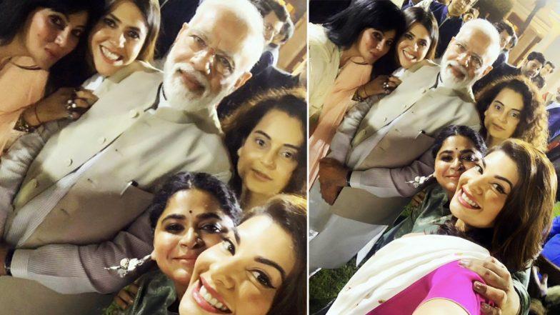 PM Narendra Modi Poses For a Selfie With Ekta Kapoor, Kangana Ranaut & Jacqueline Fernandez, Bats For Women Empowerment in Cinema (See Pic)