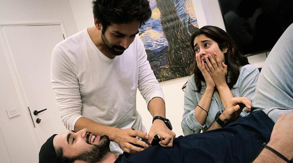 Dostana 2: Janhvi Kapoor, Kartik Aaryan and Lakshya's Prep Looks Dramatic and Fun (See Pic)