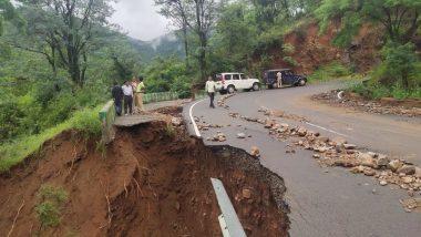Karnataka Rain Fury: Narayanpur Chaya Bhagavathi Temple Partially Submerged in Water, House Collapses in Gadag; Watch Videos