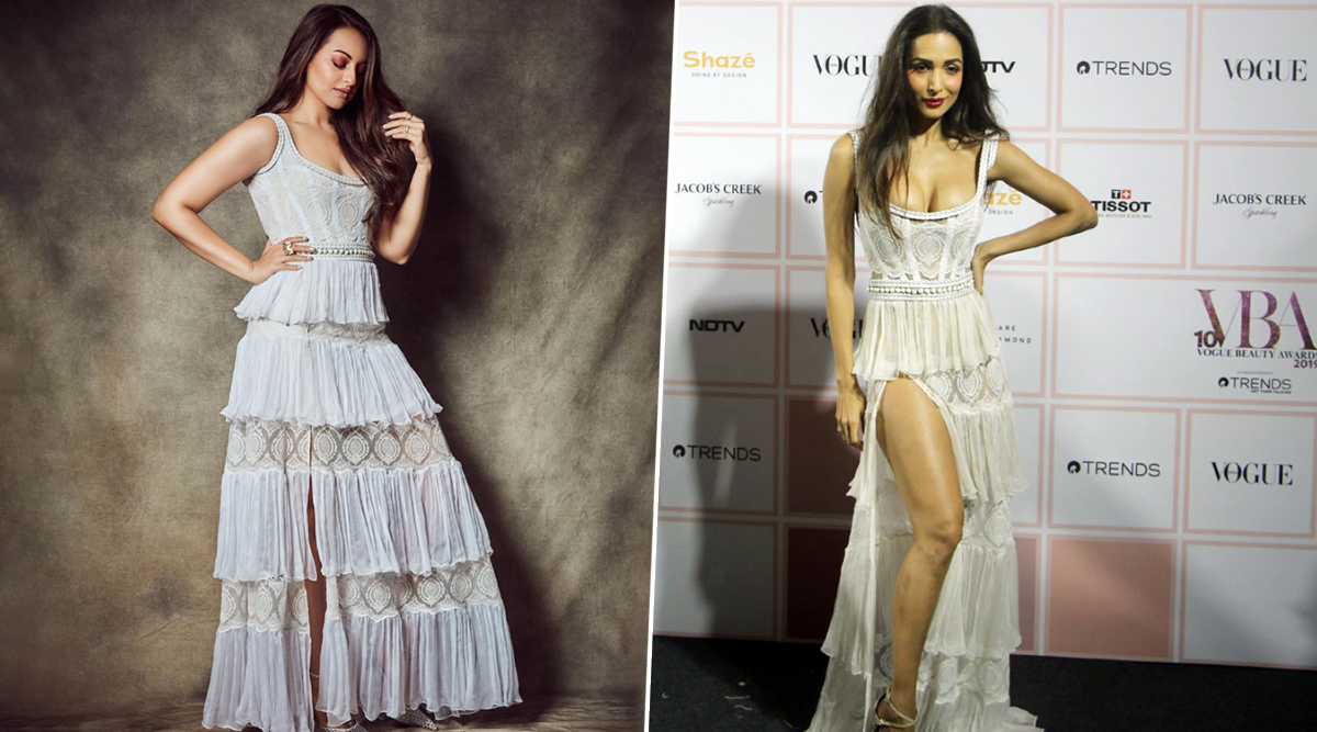 Fashion Face-off: Malaika Arora or Sonakshi Sinha - Who Nailed this White Lacy Aadnevik Gown Better?