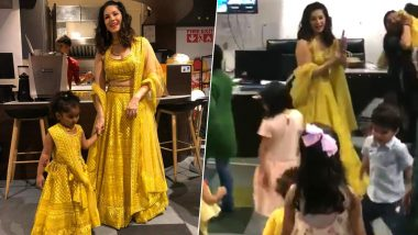 Sunny Leone Twins with Daughter Nisha and Dances to Chogada with Kids at a Pre-Diwali Party (Watch Video)