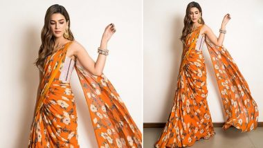 Yo or Hell No? Kriti Sanon's Floral Print Saree by Monish Jaising for Jacky Bhagnani's Diwali Party