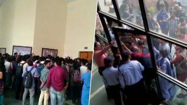JNU Students Protest Outside Inter Hostel Administration, Block Ambulance Carrying Professor Umesh Kadam Over Hostel Fee (Watch Video)