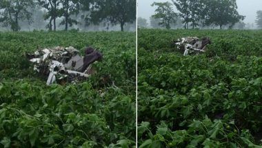 Telangana Plane Crash: 2 Pilots Killed After Trainer Aircraft Crashes at Sultanpur Village in Vikarabad