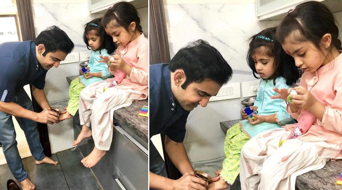 Gautam Gambhir Shares Picture with Daughters, Says 'Gradually Mastering Pedicure Skills'