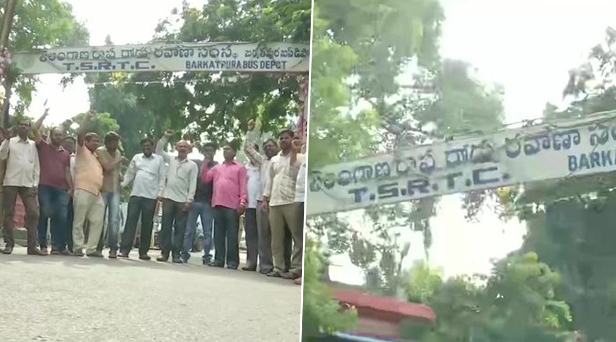 TSRTC Strike in Telangana: Employees of TSRTC Begin Indefinite Strike in Hyderabad Over Their Long-Pending Demands
