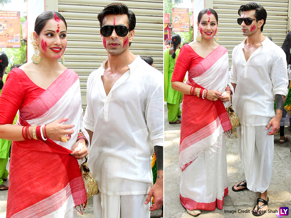 Bipasha Basu and Karan Singh Grover celebrate Sindoor Khela.