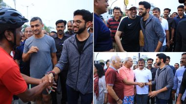 Maharashtra Assembly Elections 2019: Aaditya Thackeray Takes Campaign Trail to Worli Sea Face, Gets Flanked by Sachin Ahir in Interaction With Locals