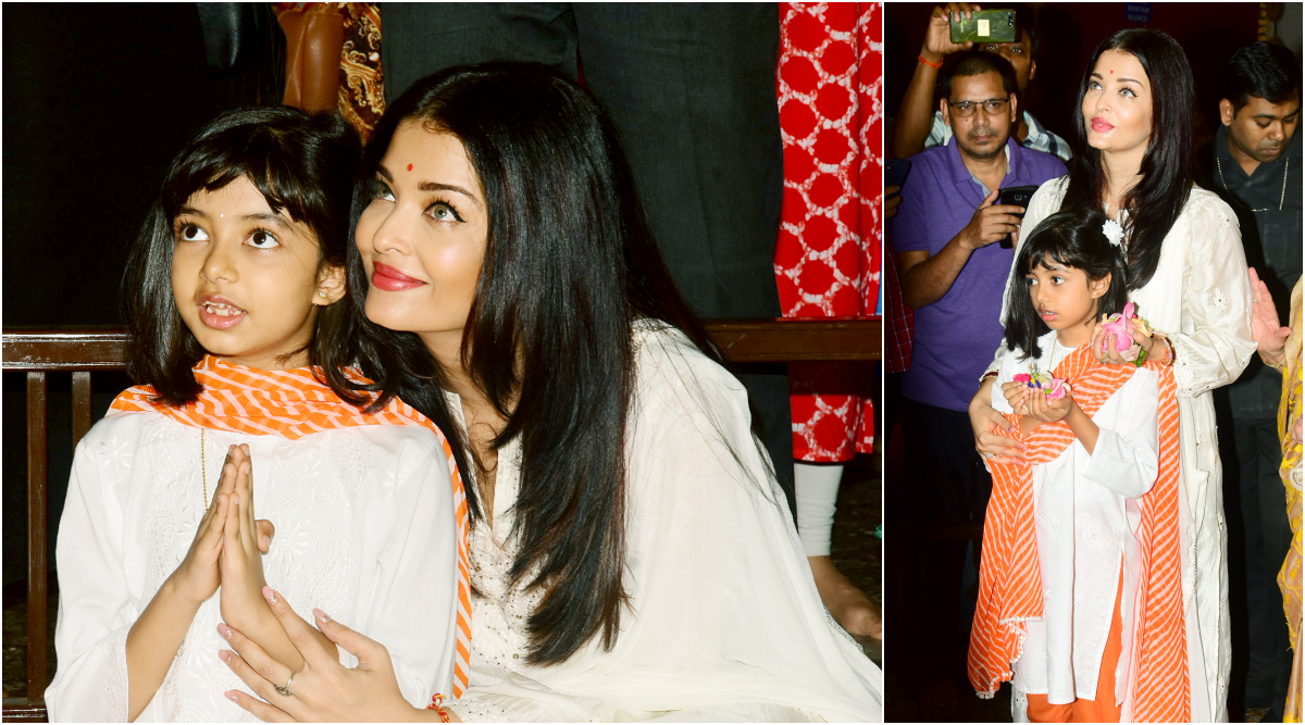 Subho Bijoya Dashami 2019 Pics: Aishwarya Rai Bachchan And Daughter Aaradhya Twin in White as They Offer Prayers at a Durga Puja Pandal