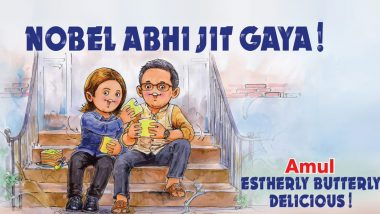 Image result for Abhijit Banerjee and Esther Duflo were among the recipients of the Nobel prize for economics in 2019.  amul ad