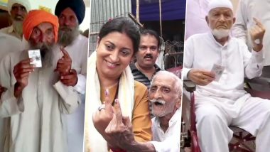 Maharashtra Assembly Elections 2019: 102-Year-Old Man Votes in Pune, Smriti Irani Calls 93-Year-Old Voter 'Hero'