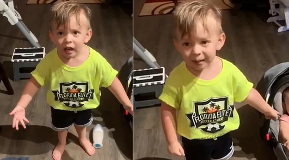 Baby Talking in Gibberish Complaining About His Mom Leaving For Work Without Giving Him Goodbye Kiss is Hilarious; Video Goes Viral