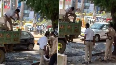 Bengaluru Traffic Police Repair Pothole In The City, Twitterati Hail Cops And Demand Answers From Municipal Corporation (Watch Video)