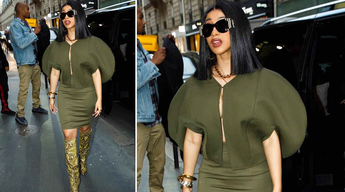 Yo or Hell No? Cardi B Picks Olive Co-Ord Outfit by Aliétte for Her Sixth Look at the Paris Fashion Week
