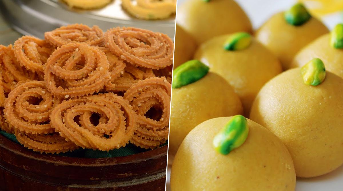Diwali 2019 Recipes: How to Make Chakli, Besan Ladoo for Faral This Festive Season at Home (Watch Videos)