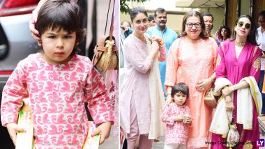 Taimur Ali Khan Tags Along With Kareena Kapoor and Karisma Kapoor to Attend Diwali Puja! (View Pics)