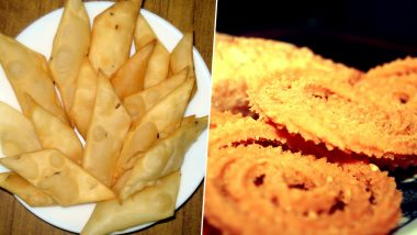 Diwali 2019 Namkeen Recipes: From Namak Pare to Chakli, Here's How to Make Quick Party Snacks for Deepavali Celebration (Watch Video Tutorials)