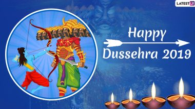Happy Dussehra 2019 Greetings: WhatsApp Stickers, Ravan Dahan Photos, Dasara GIF Images, SMS, Messages & Greetings to Wish on Vijayadashami