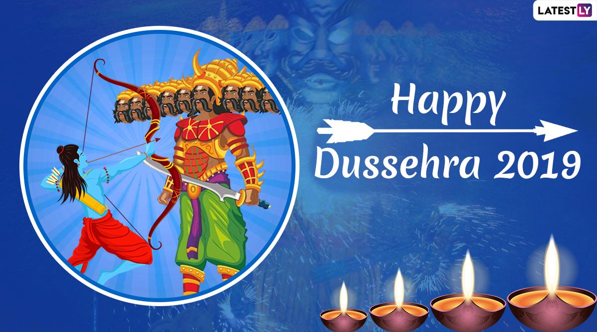 Happy Dussehra 2019 Greetings: WhatsApp Stickers, Ravan Dahan Photos, Dasara GIF Images, SMS, Messages & Greetings to Wish on Vijayadashami