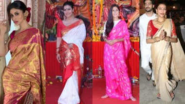 Durga Puja 2019 Fashion: Sushmita Sen, Mouni Roy, Kajol & Other Bollywood Actresses Teach You How To Rock Outings For Pandal Hopping!