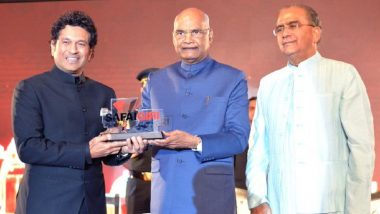 President Kovind Presents Most Effective Swachchta Ambassador Award to Tendulkar