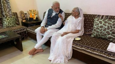 PM Narendra Modi Meets His Mother Hiraba at Her Residence in Gandhinagar