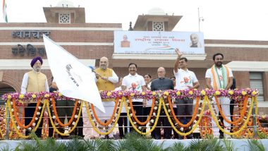 Sardar Vallabhai Patel 144th Birth Anniversary: Amit Shah Flags Off 'Run for Unity' at Major Dhyan Chand National Stadium in Delhi