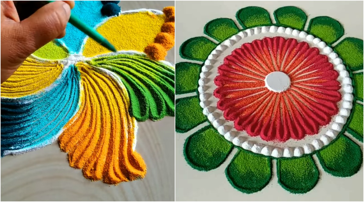 Latest Diwali Rangoli Designs 2019: Quick And Easy Colourful Rangoli Patterns to Brighten Up Your Home This Festive Season (Watch Videos)