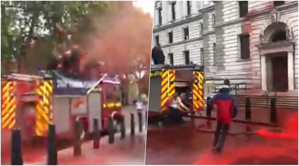 Climate Activists' in London Fail to Spray Fake Blood on UK Finance Ministry After They Lose Control of The Hose Pipe (Watch Viral Video)