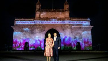 Gateway of India Lit Up with Special Dutch Theme to Welcome King Willem-Alexander and Queen Maxima of Netherlands