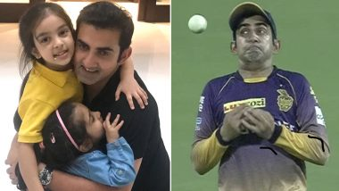 Gautam Gambhir Trolls Himself For 'Bad Catches' While Posting an Adorable Picture With Daughter Aazeen and Anaiza