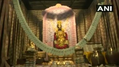 Goddess Ammavaru at Sri Kanyaka Parameswari in Vizag Temple Decorated With 4-Kg Gold and Rs 2 Crore in Notes Ahead of Dussehra 2019