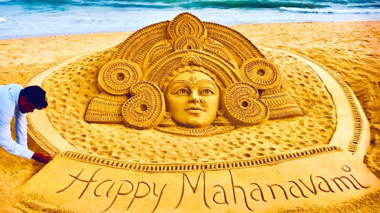 Maha Navami 2019 Wishes & Images: Twitterati Share Maa Durga Sand Art by Sudarsan Pattnaik, Durga Navami Greetings on Fourth Day of Pujo