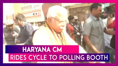Haryana Assembly Polls 2019: CM Manohar Lal Khattar Rides Cycle To Polling Booth To Cast His Vote