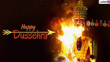 Happy Dussehra 2019 Wishes & Vijayadashami Images: WhatsApp Stickers, Ravan Dahan GIF Images, Telugu Messages, Facebook Photos, SMS and Wishes to Send on Dasara