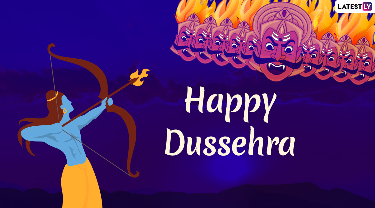 Happy Dussehra 2019 Images & Ravan Dahan HD Wallpapers For Free Download Online: Wish on Vijayadashami With Beautiful WhatsApp Stickers and GIF Image Greetings