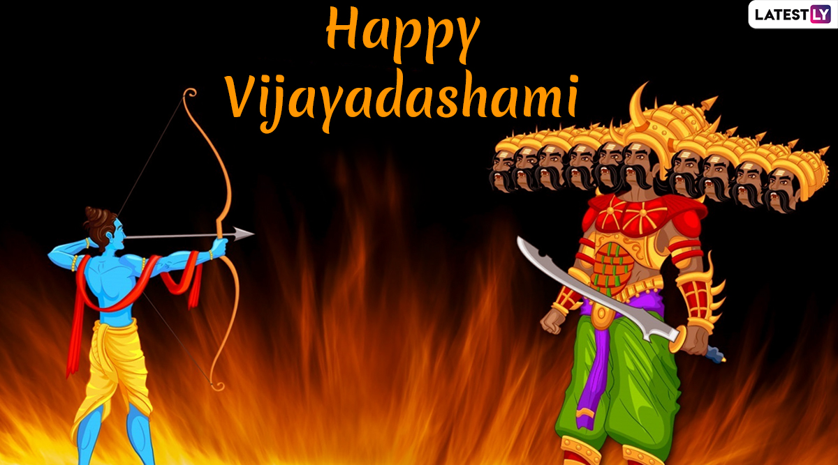 Vijayadashami Images & Ravan Dahan HD Wallpapers for Free Download Online: Wish Happy Dussehra 2019 With Beautiful WhatsApp Stickers and GIF Greetings