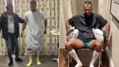 Hardik Pandya Injury Update! Indian All-Rounder Kick-Starts His Journey to Fitness, Walks for 1st Time After Back Surgery (Watch Video)