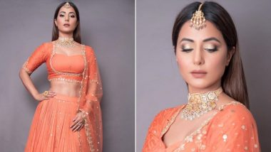 Hina Khan In A Lovely Orange Pleated Lehenga Is Lit Like Diwali! Here's Why You Should Try This Look For the Festive Season
