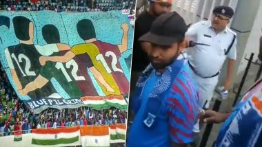 Indian Football Fans Stopped from Entering Stadium with Banners by Kolkata Police during IND vs BAN 2022 FIFA World Cup Asia Qualifiers, Watch Video