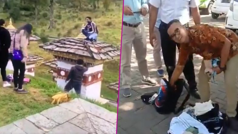 Indian Man Gets Detained After Climbing Over Bhutanese Sacred Monument Dochula Pass; Other Times When Indian Tourists Brought Disgrace With Their Actions While Travelling (Watch Videos)