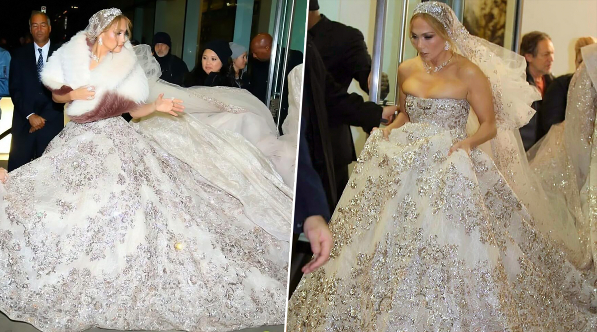 Jennifer Lopez' Over-the-Top, Bedazzling Wedding Dress Is Making Us Gasp! (View Pics)