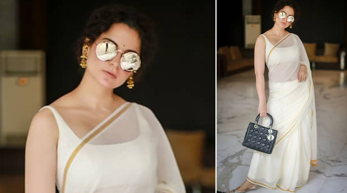 Yo or Hell No? Kangana Ranaut in Suta Bombay's Classic White Saree (View Pics)