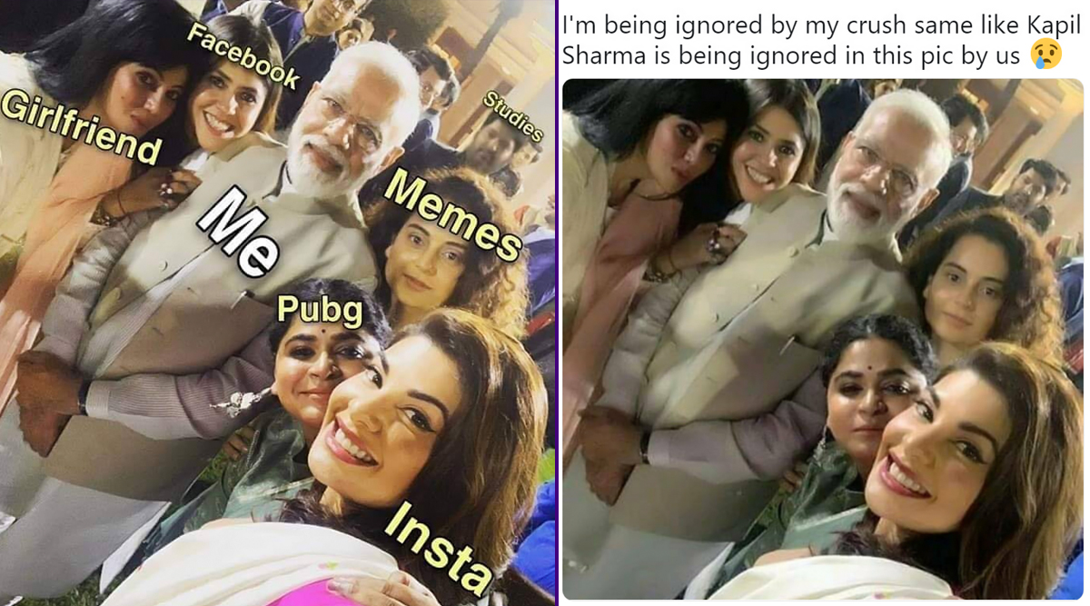 PM Modi's Selfie With Bollywood Actresses Has Got Everyone Making Funny Memes on Kapil Sharma's Expression (View Pics)