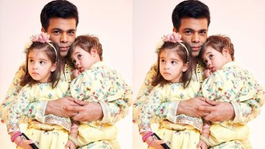 Diwali 2019: Karan Johar Twins in Matching Manish Malhotra Outfits With Kids, Yash and Roohi (View Pics)