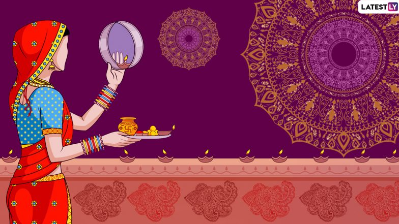 Karwa Chauth 2019 Greeting Cards: WhatsApp Stickers, Karva Chauth Vrat GIF Images, Romantic Postcards and Messages to Wish Your Significant Other!