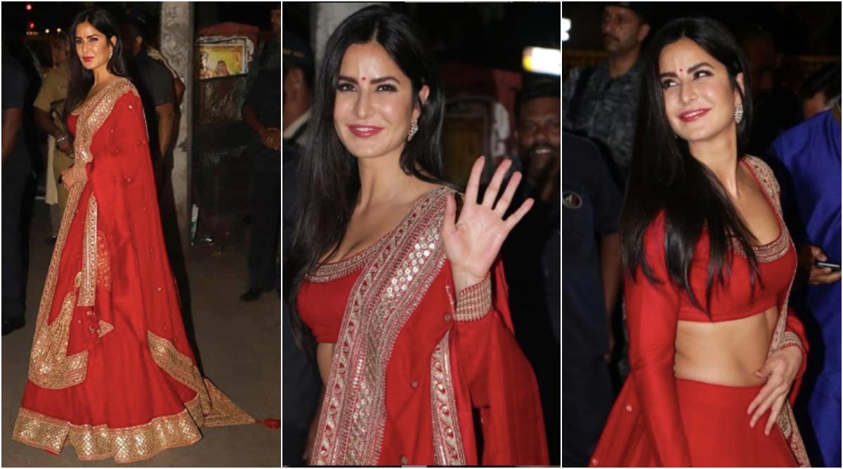 Katrina Kaif Stuns in a Gorgeous Red Lehenga at Amitabh Bachchan's Diwali Bash (View Pics)